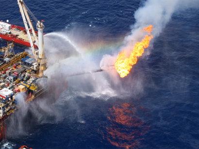 Ликвидация последствий пожара на морском месторождении
