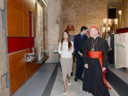 Мехрибан Алиева, пребывая в Ватикане, ознакомилась с историческими достопримечательностями - Римскими катакомбами и мавзолеем